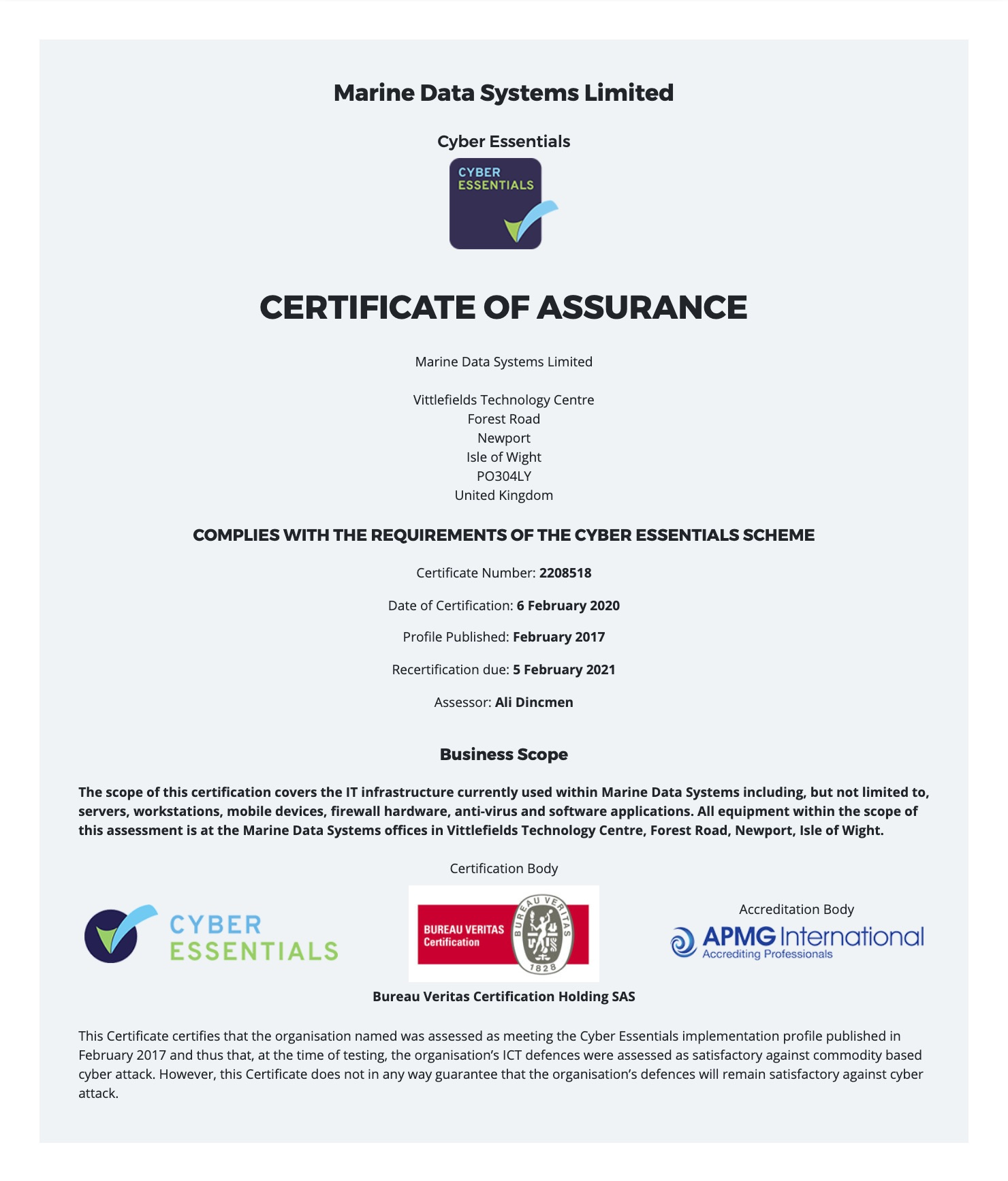 Marine Data Systems - Cyber Essentials Certificate